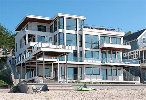 california style modern house on lake michigan