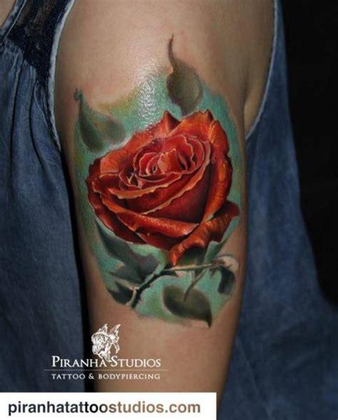 arm realistic flower rose tattoo  piranha tattoo studio