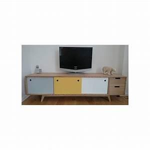 Meuble Chene Gris : meuble tv scandinave ch ne gris jaune blanc ~ Teatrodelosmanantiales.com Idées de Décoration