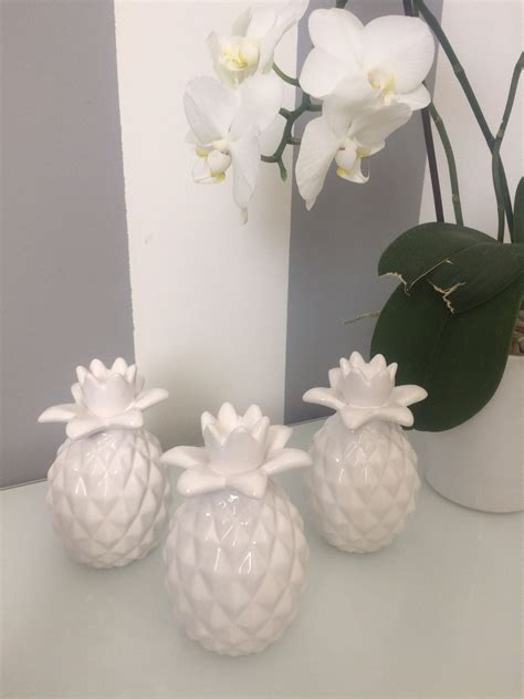 White Pineapple Decor by Set Of 3 White Modern Contemporary White Pineapple