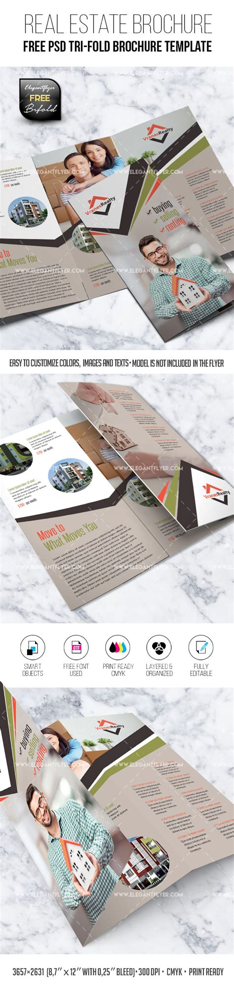 Tri Fold Brochure Templates Free By Elegantflyer Real Estate Free Tri Fold Brochure Psd Template By