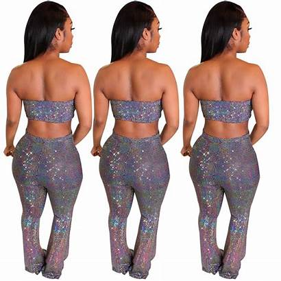 Jumpsuit Strapless Bodycon Shiny Clubwear Outfits Skirt