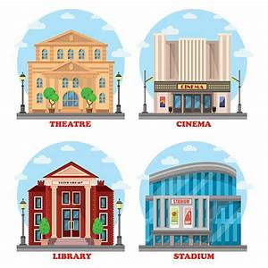 Library clipart movie theater building - Pencil and in ...