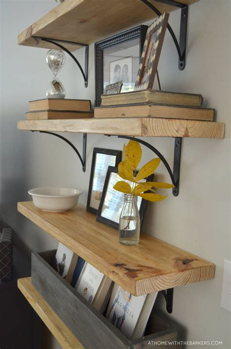 Hardwood Wall Shelves by Diy Rustic Wood Shelves At Home With The Barkers