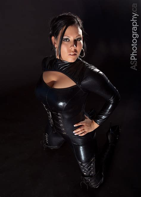 hot young woman  black pvc  leather boots model mm