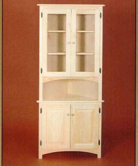 corner kitchen hutch cabinet amish unfinished solid pine corner hutch china cabinet 5845