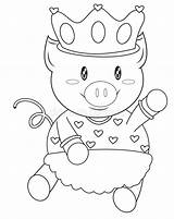 Coloring Pig Crown sketch template