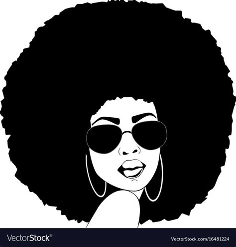 The svg and eps files are vector files and can be resized to any size without losing image quality. African american woman silhouette afro portrait Vector ...