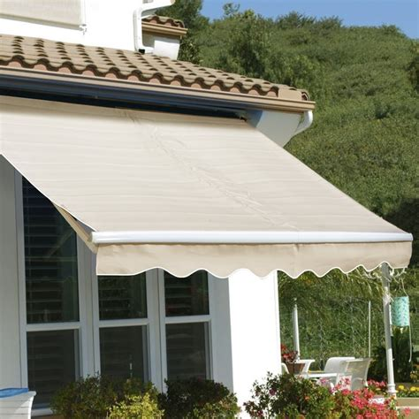 patio manual retractable sunshade awning shade outdoor beige   barton