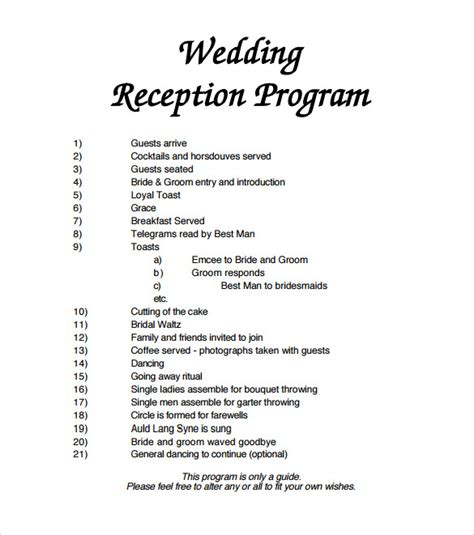 wedding reception itinerary wedding reception agenda template 2 best agenda templates