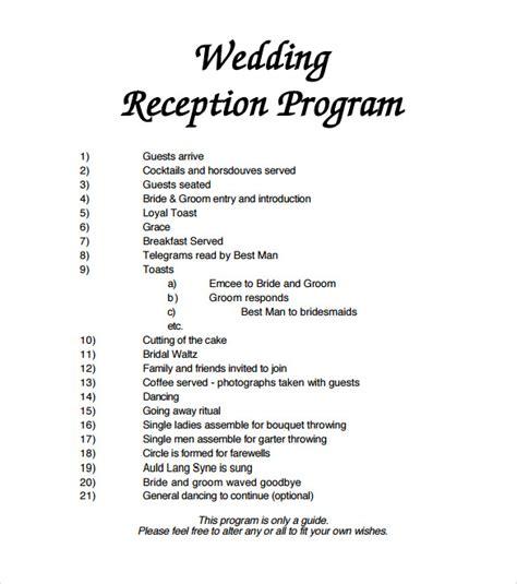 wedding reception itinerary wedding reception agenda template 2 best agenda templates