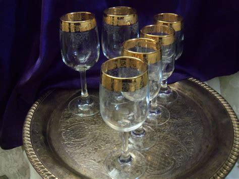 Cellini Gold Rimmed Wine Goblets, 22 Kt Embossed & Etched