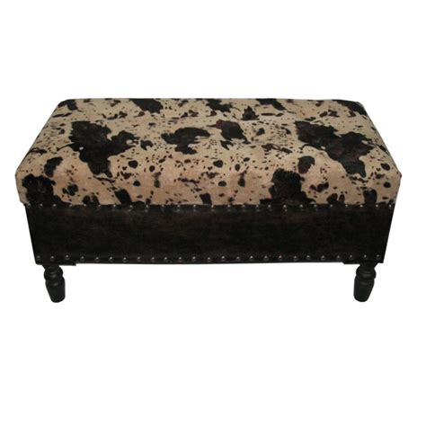 Faux Cowhide Ottoman by Faux Cowhide Storage Trunk Bench