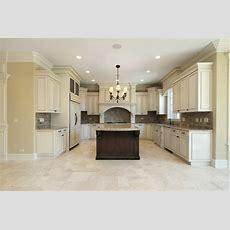 Beige Kitchen Floor Tiles And Marble Backsplash