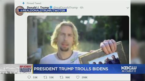 biden responds  trump  nickelback meme  troll