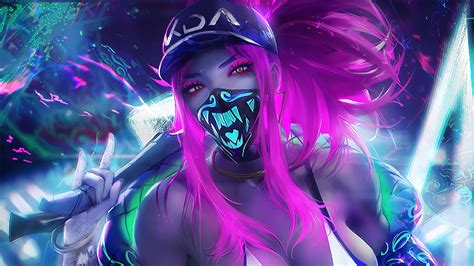 K/da Akali Mask Neon League Of Legends Lol Game Hd