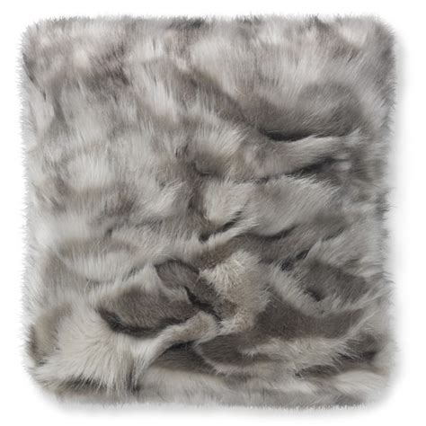 gray fur pillow faux fur pillow cover gray fox williams sonoma