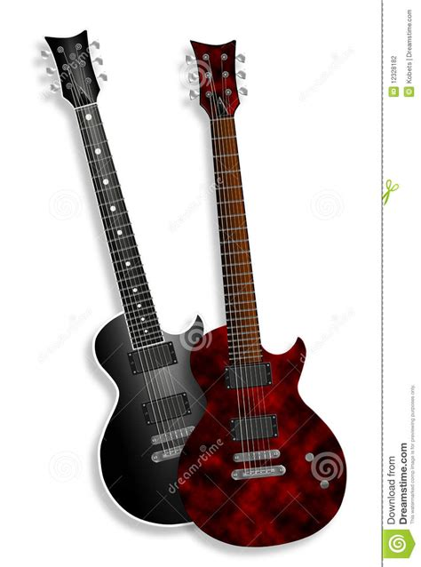 red  black electric guitars  white stock photography