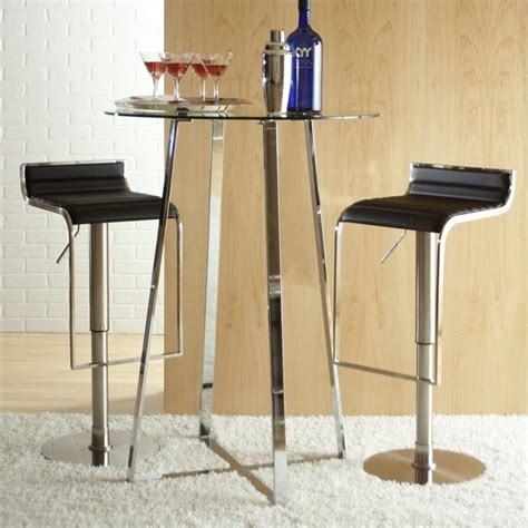 eurostyle ultima glass top pub table in chrome 08050a