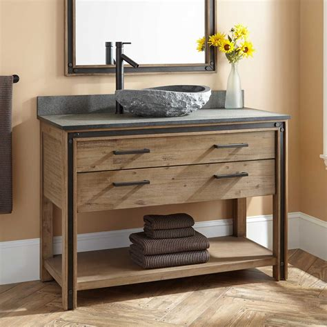 kohler trough 48 quot celebration vessel sink vanity rustic acacia bathroom
