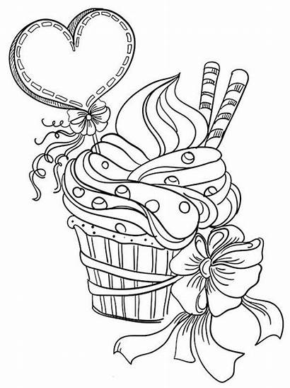 Coloring Valentines Pages Adults Cupcake