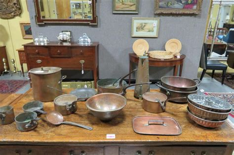 lot antique french copper cookware collection pcs