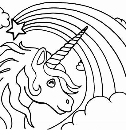Unicorn Rainbow Coloring Pages Colouring Printable Sheets