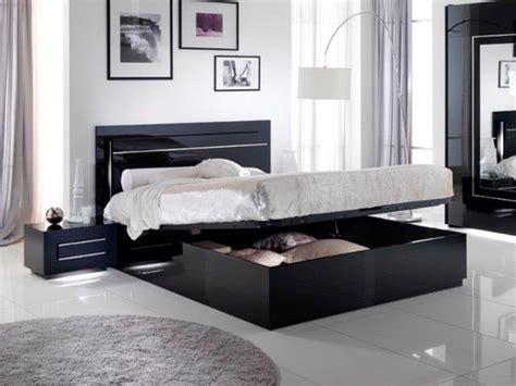 chambre city lit avec coffre de rangement city laque noir chambre à coucher