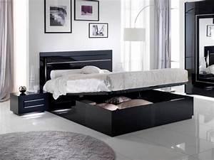 Lit avec coffre de rangement city laque noir chambre a coucher for Chambre à coucher adulte moderne avec matelas memoire de forme naturel