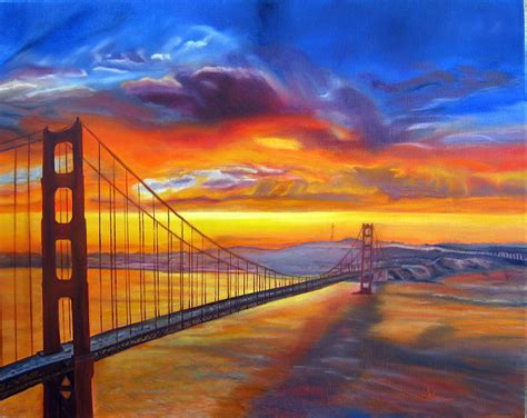 golden gate bridge sunset painting by lavonne