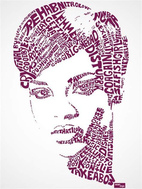 famous typography portraits  song lyrics