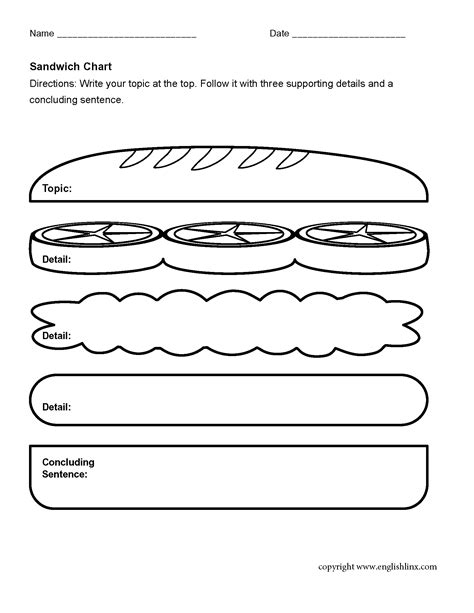 sandwich graphic organizers worksheets 2nd grade topic