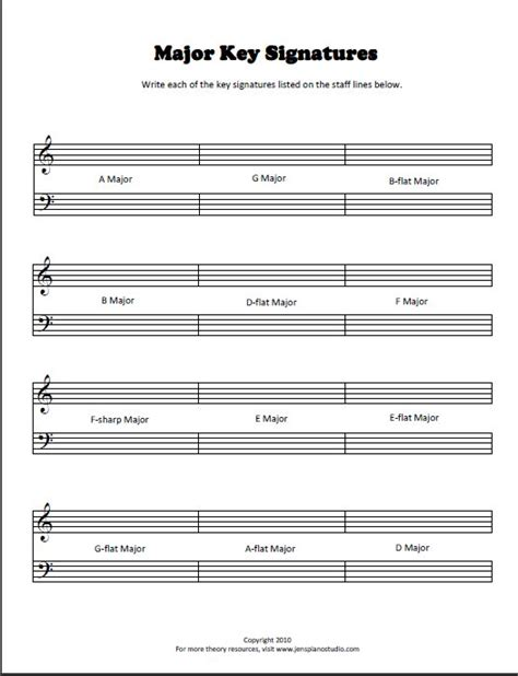 Key Signature Worksheets Pianimationcom
