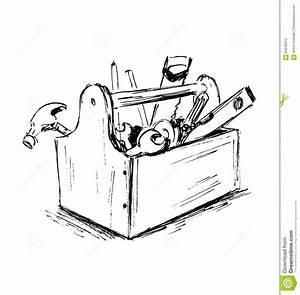 Hand Sketch The Box With Tools Stock Vector - Image: 64246312