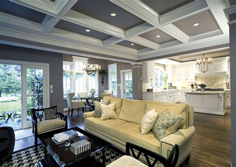 white kitchen coffered ceiling in family room