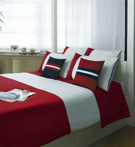 housse de couette unie percale color block hilfiger galeries lafayette