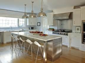 stainless steel kitchen island stainless steel kitchen island with marble countertops and onda barstools transitional kitchen