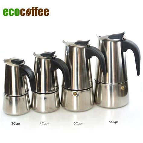 Stainless Steel Moka Espresso Latte Percolator Stove Top Coffee Maker Pot in Percolators from