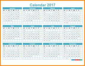 2017 Yearly Calendar with Week Numbers