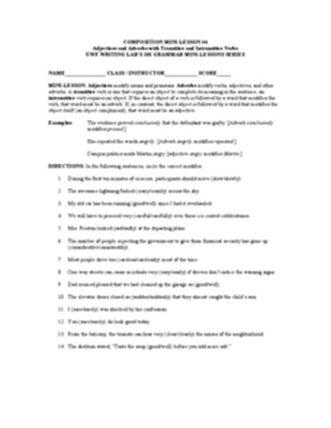 Adjectives And Adverbs With Transitive And Intransitive Verbs 3rd  6th Grade Worksheet Lesson