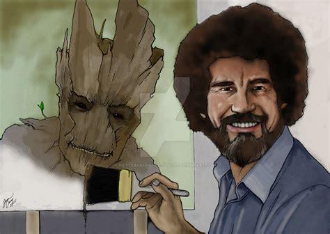 Bob Ross Painting Groot By Hatterandharestudios On Deviantart