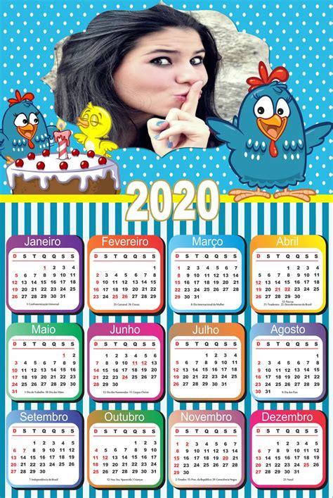 Montagem de Fotos Calendário Calendário 2020