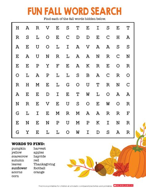 printable word search for fall autumn word search worksheets printables scholastic