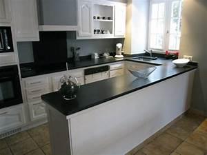 cuisine blanche avec plan de travail noir 73 idees de With plan de travail cuisine blanche