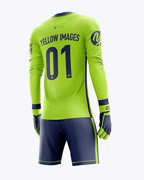 Easy to use and full customizable with orga. Men's Full Soccer Goalkeeper Kit mockup (Hero Back Shot ...