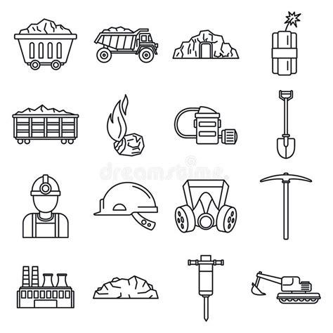 Iconos Determinados De La Industria De Petróleo En Estilo