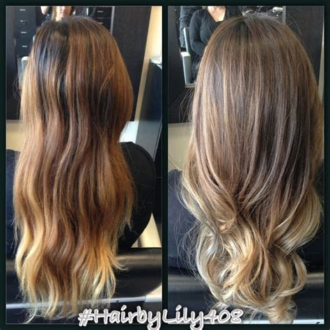 changed  brassy hair    natural  ashy ombre  balayage highlights