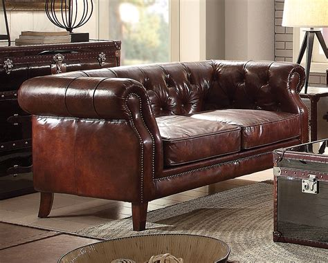 Chesterfield Loveseat Leather by Alastair Vintage Chesterfield Sofa Loveseat In