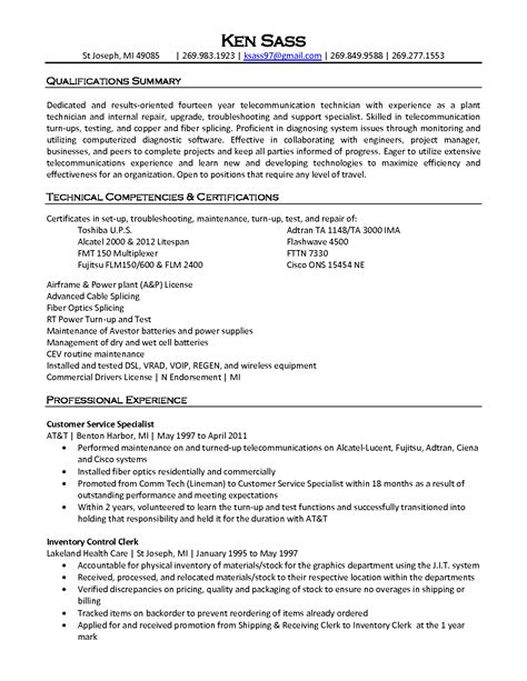 Telecommunication Technician Resumes by Telecom Resume Sles Resume Cv Cover Letter