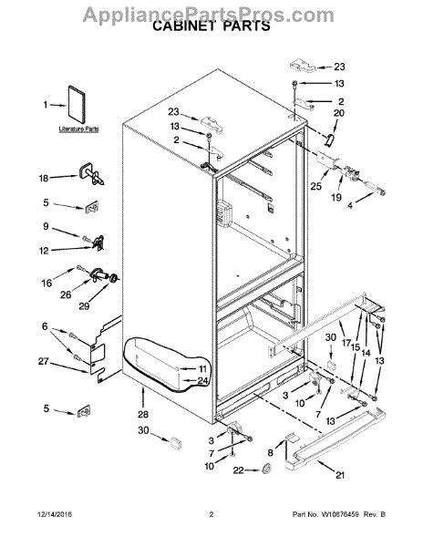 parts  whirlpool wrfsmym cabinet parts